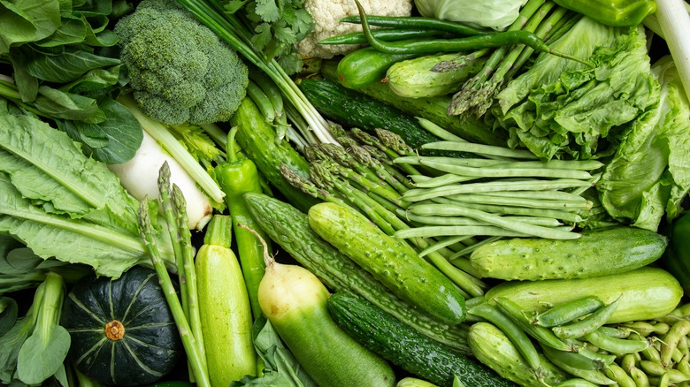 variety of green vegetables, broccoli, peas, green beans, cauliflower, cabbage