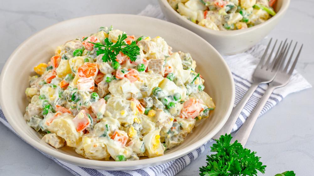 Egg salad in ceramic bowl