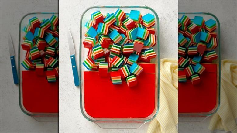 Rainbow layered Jell-O in pan