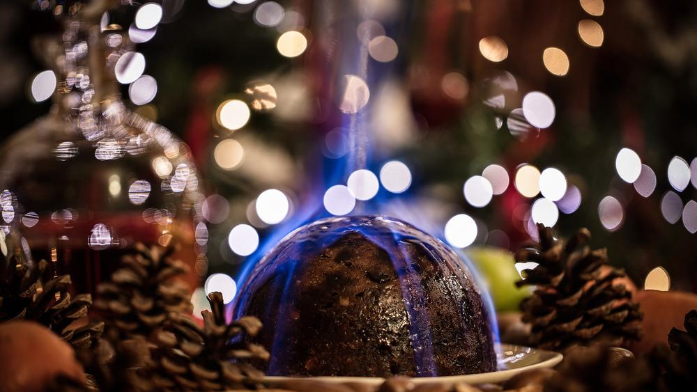 A Christmas pud, on fire