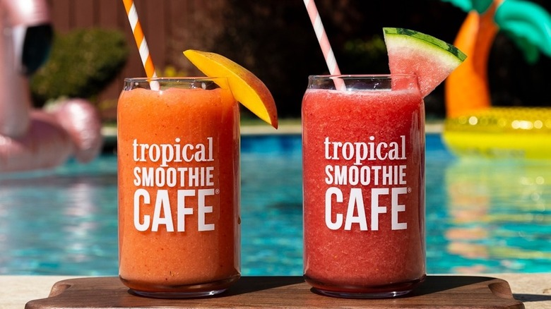 Tropical Smoothie Cafe drinks in glass