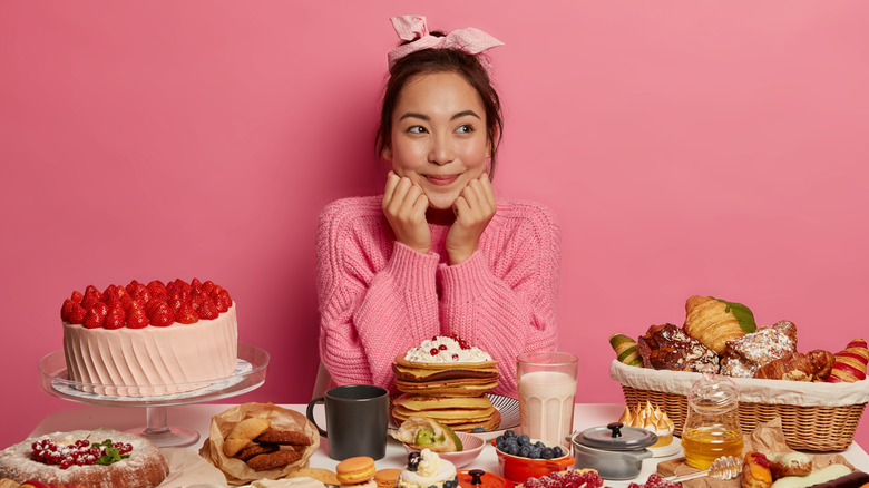 Woman with lots of food