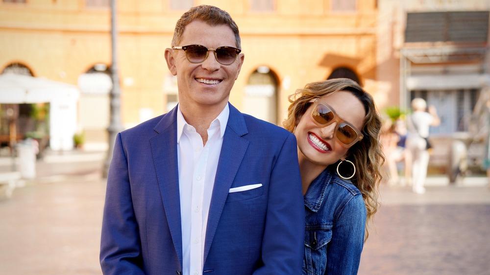 Bobby Flay and Giada De Laurentiis smiling in Rome