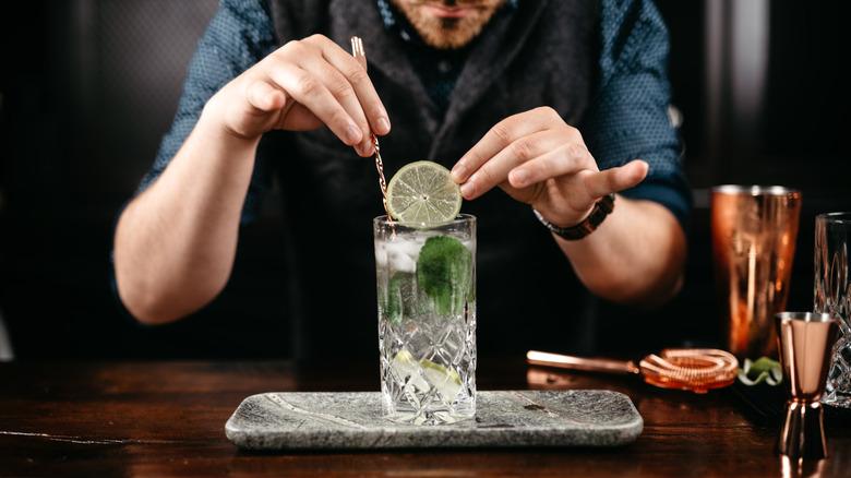 Bartender preparing a mixology cocktail