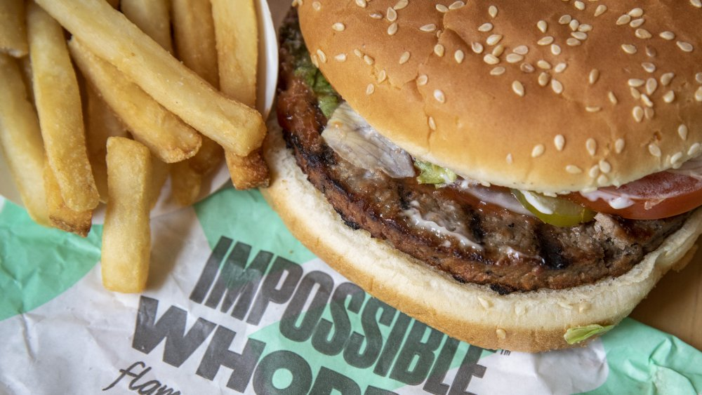Impossible Whopper with fries from Burger King