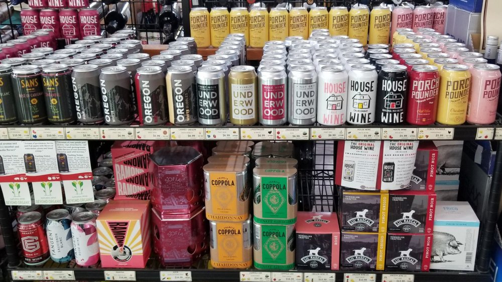 cans of wine on a shelf