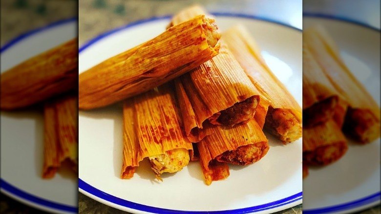 Delicious tamales on plate