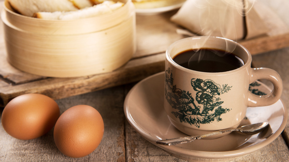coffee with brown eggs