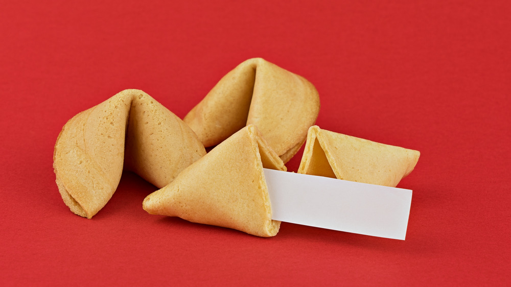 fortune cookies on red background
