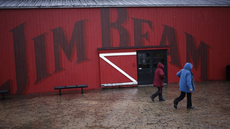 Visitors at the Jim Beam warehouse