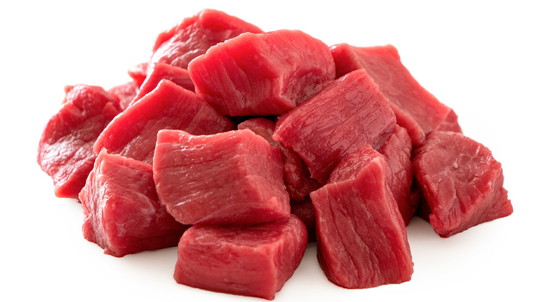 Beef cubes on a plate