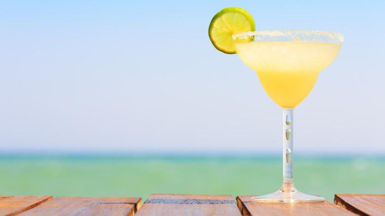 Margarita on table at the beach