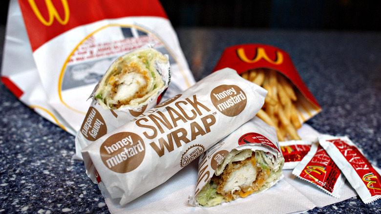 A chicken snack wrap combo meal is seen at a McDonald's restaurant in New York