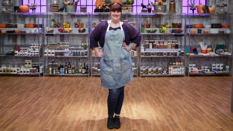 Megan Baker on Halloween Baking Championship set