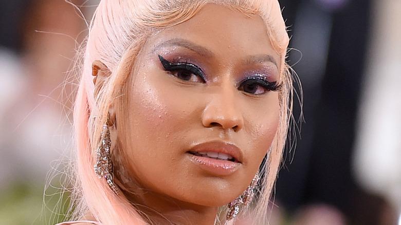 Nicki Minaj with blonde hair and eyeliner