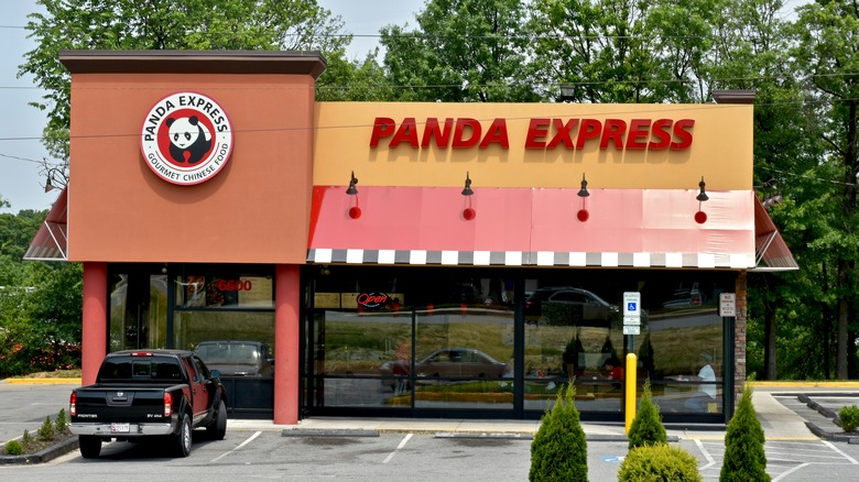 Panda Express restaurant exterior with truck