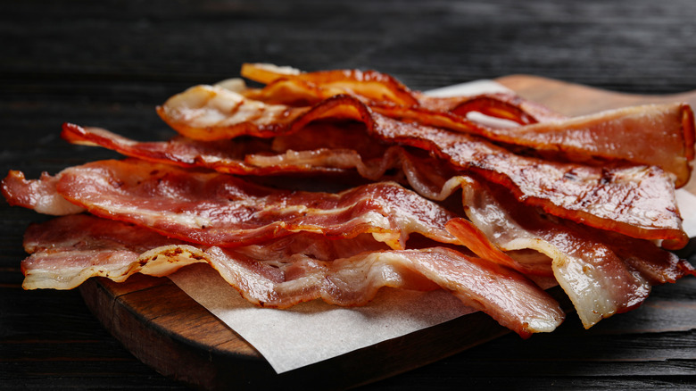 Pile of bacon slices