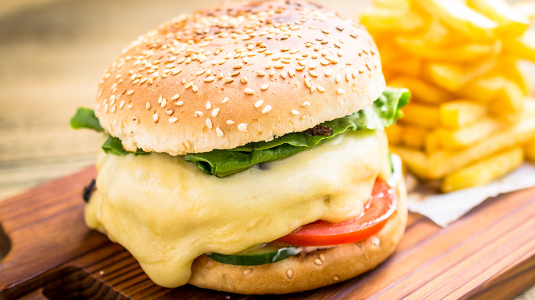 Burger with lots of melted cheese