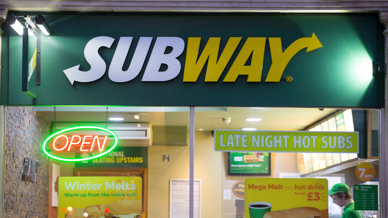 The exterior of a Subway location.
