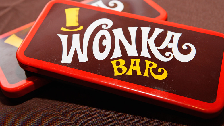 "Red and yellow ""Wonka"" bar"