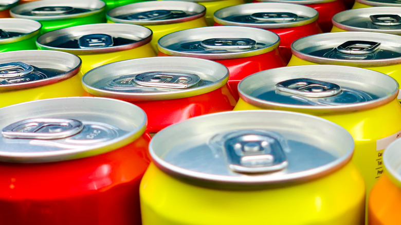 Colorful aluminum cans lined up