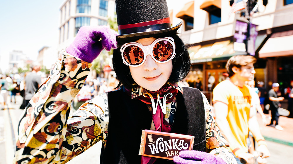 willy wonka character and chocolate
