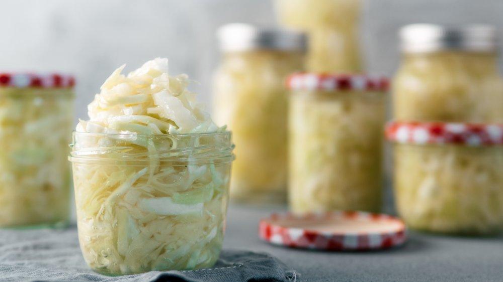 sauerkraut in glass jars