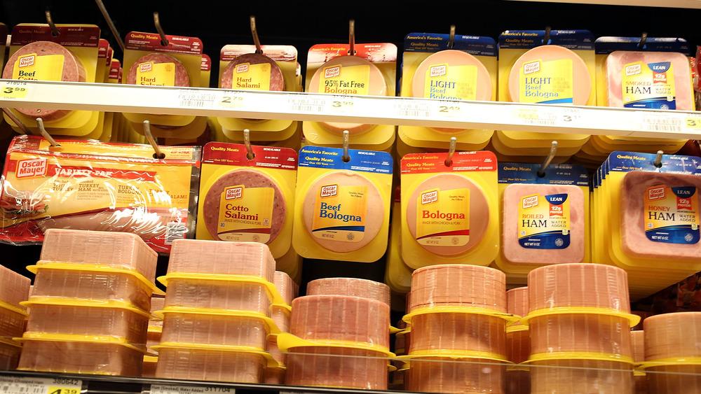Lunch meat on shelf
