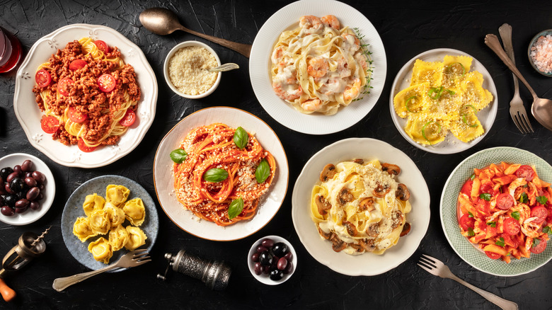 Variety of pasta dishes