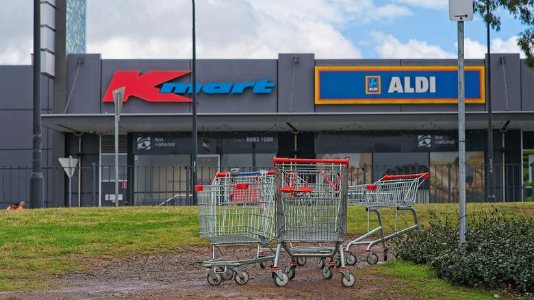 empty aldi karts outside kmart