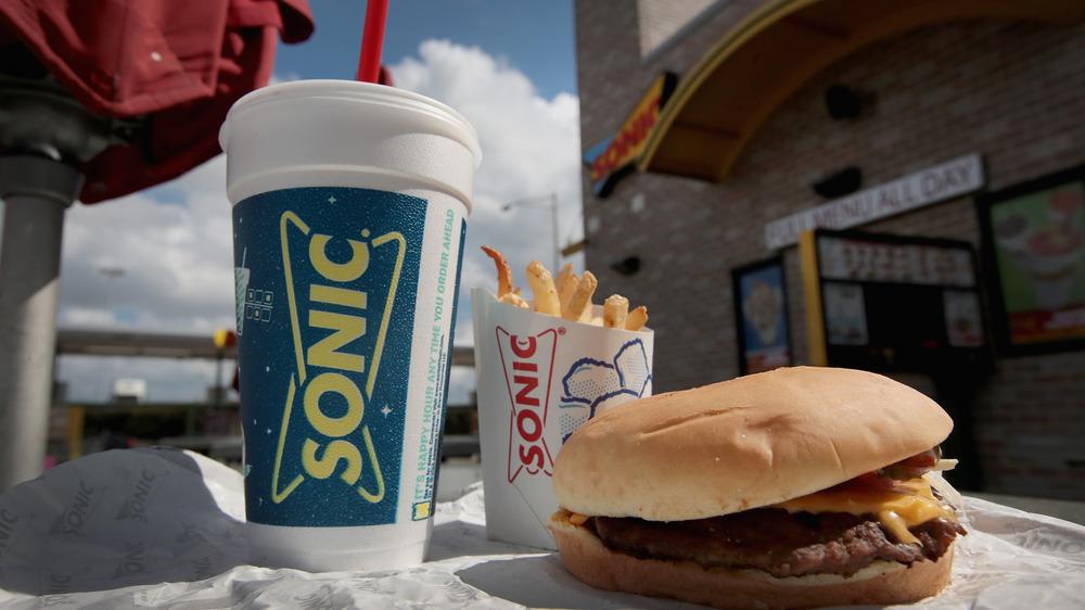 Sonic burger, fries, and milkshake