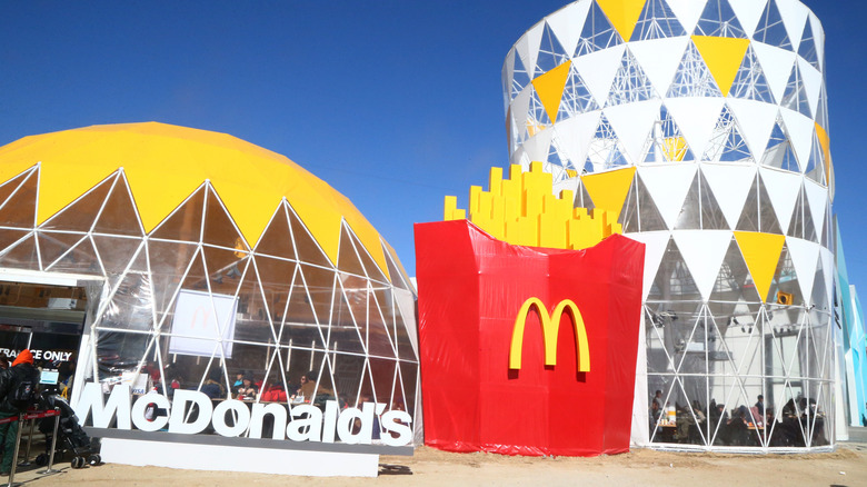 Oversized McDonald's fry container outside building at 2018 Olympics