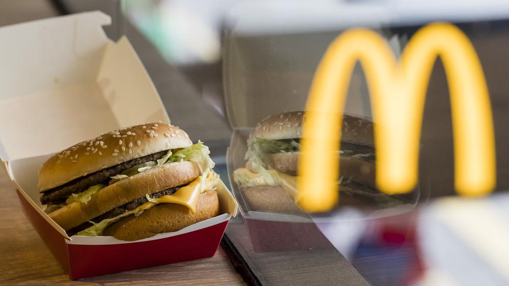 McDonald's Big Mac in a box by a window