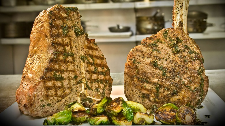 Red the Steakhouse steaks with brussels sprouts
