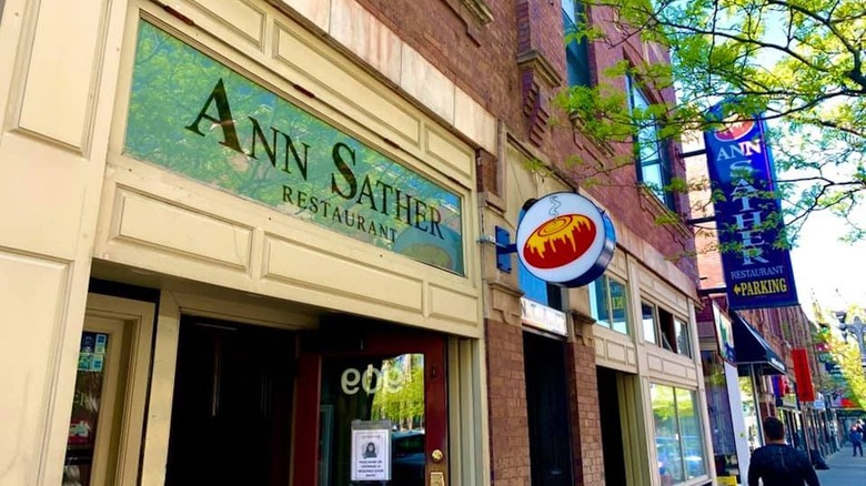 Outside an Ann Sather restaurant