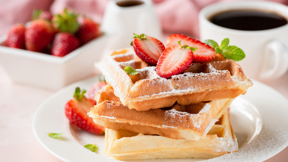 Belgian Brussels waffle with strawberries