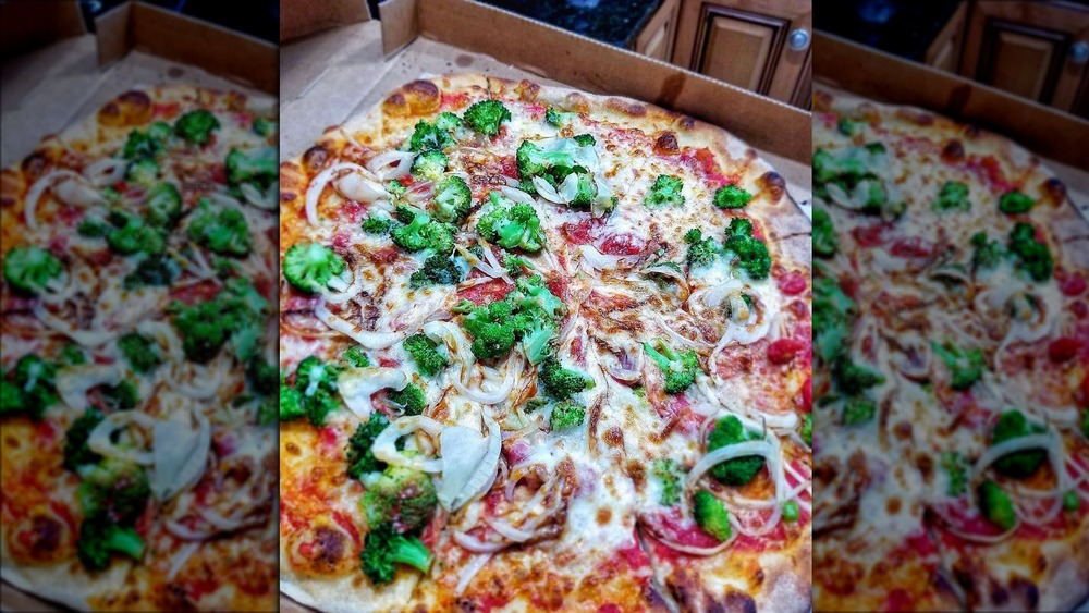 A delicious Bertucci's pizza with toppings