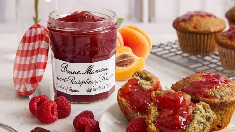 Bonne Maman raspberry jam and muffins
