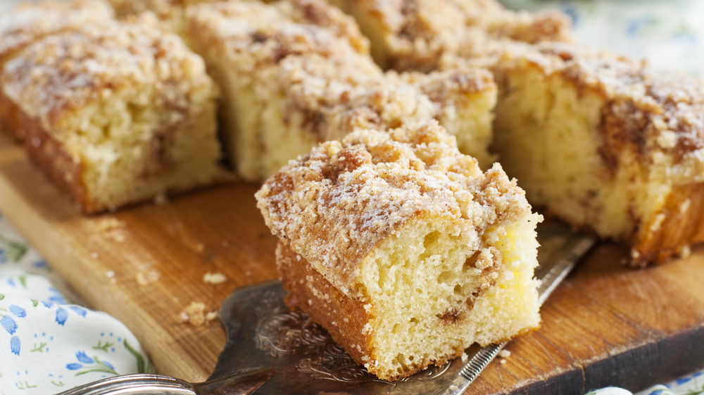 Square pieces of coffee cake