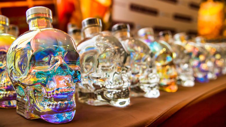 Crystal Head vodka bottles