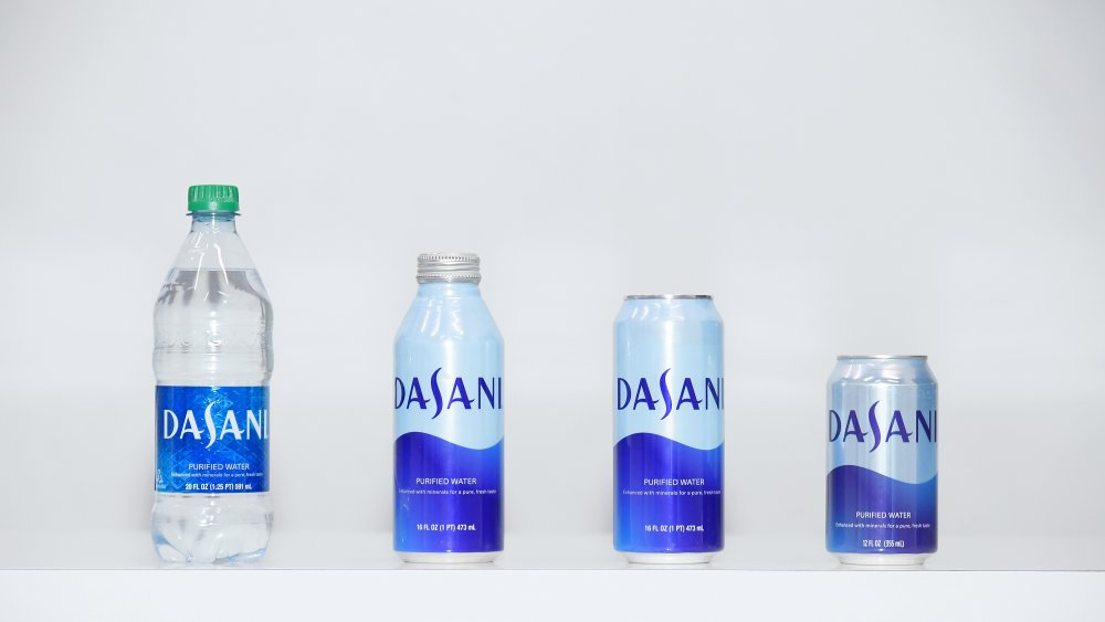 Dasani water in a number of different containers