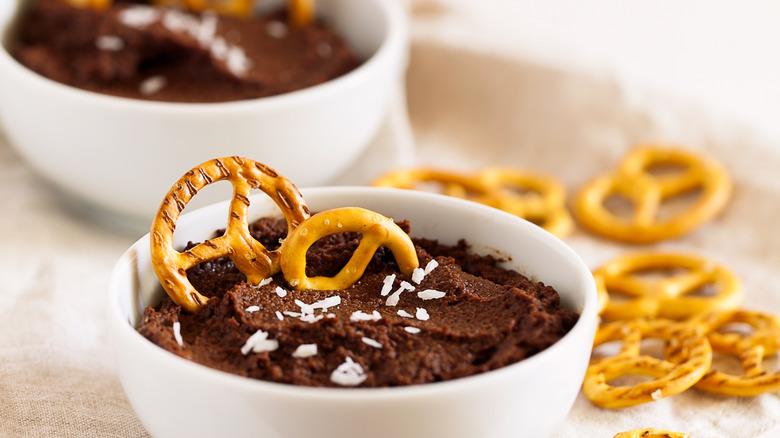 Chocolate hummus and pretzels