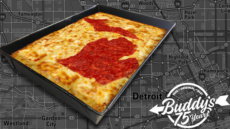 An advertisement for Buddy's Pizza