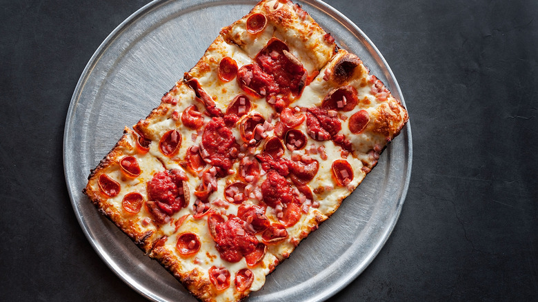 Detroit-style pizza on silver pan