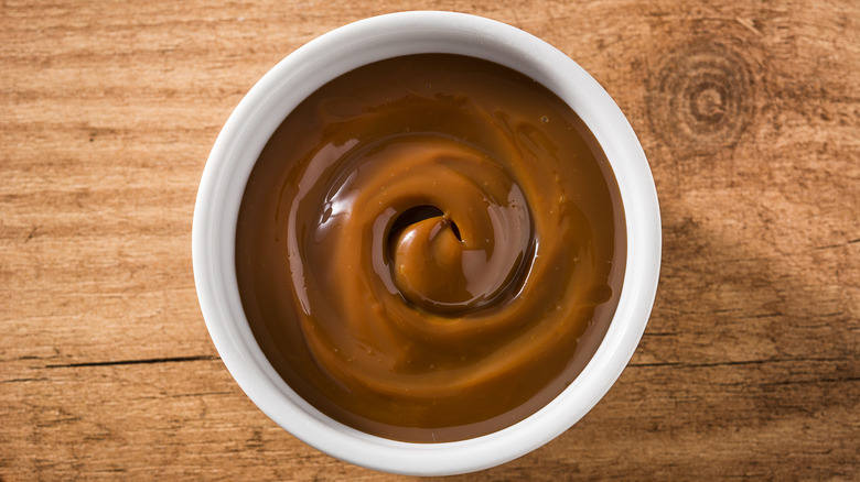 A small bowl of dulce de leche