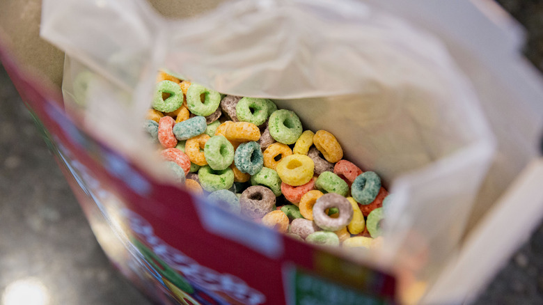 An opened box of Froot Loops