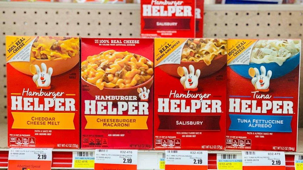 Boxes of Hamburger Helper