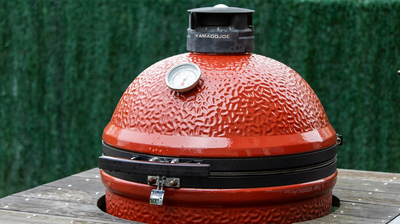 Dome of a red ceramic grill