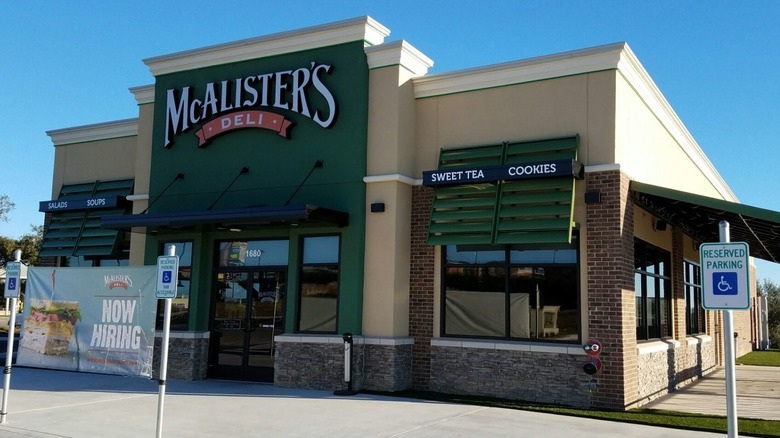 McAlister's restaurant with hiring sign