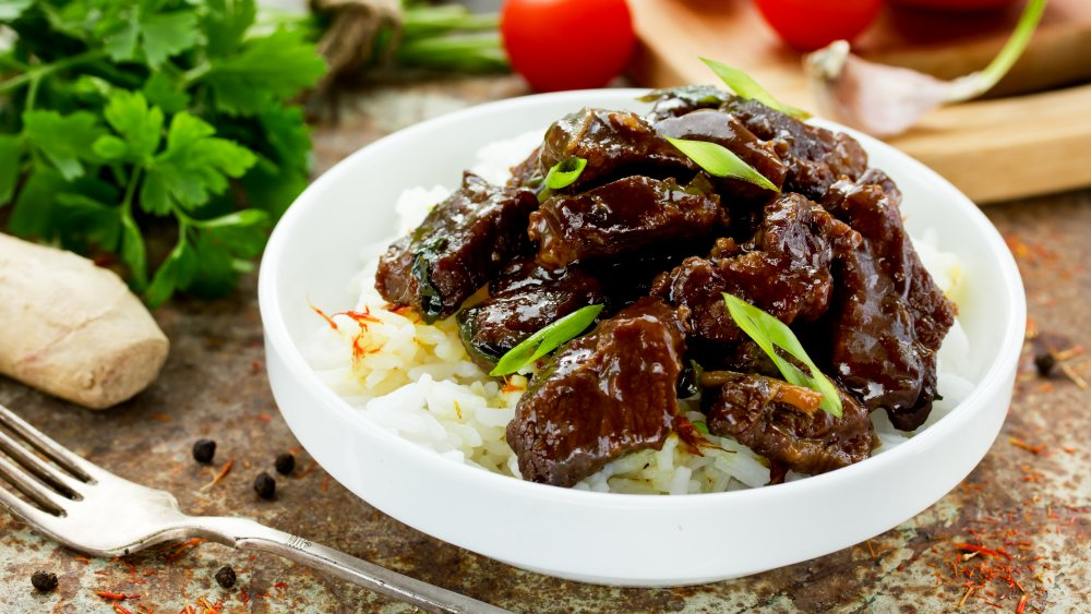 Mongolian Beef in a bowl